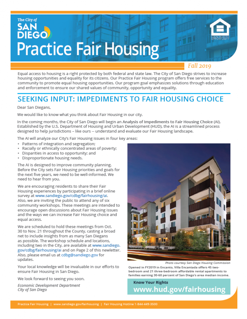 Cover Fall 2019 Fair Housing Newsletter