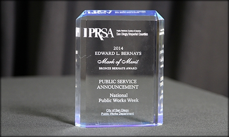 Photo of PRSA award for San Diego Public Works Department