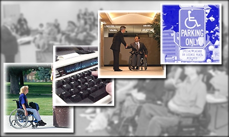 Photo collage of ADA compliance and accessibility