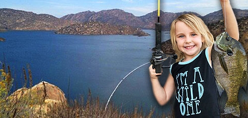 Photo of San Vicente reservoir lake and a child holding up a fish