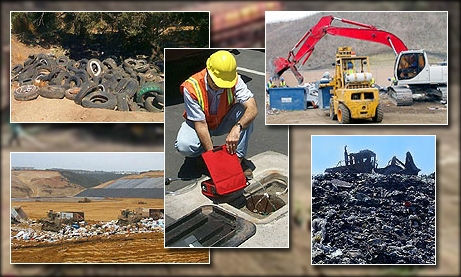 Photo collage of Solid Waste Items
