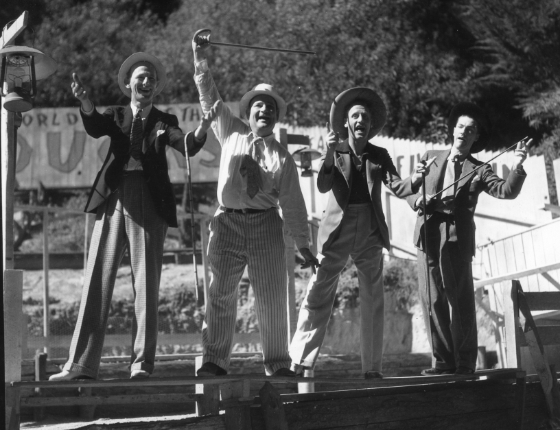 Four entertainers having fun at the 1935 Expo