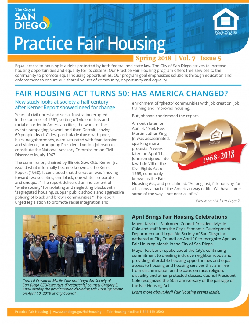 Practice Fair Housing Newsletter Spring 2018
