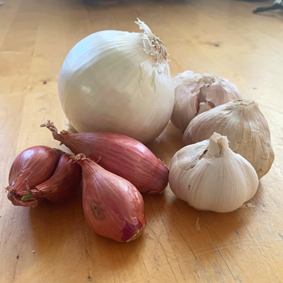 Cooking ingredients on table including white onion, garlic and shallots