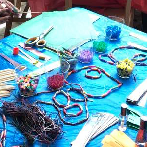 Image of various craft items on a table