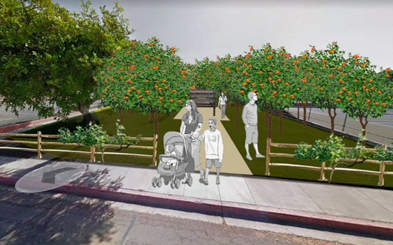 A rendering of a  fruit Orchard with a wooden sign that says San Ysidro Fruit PArk