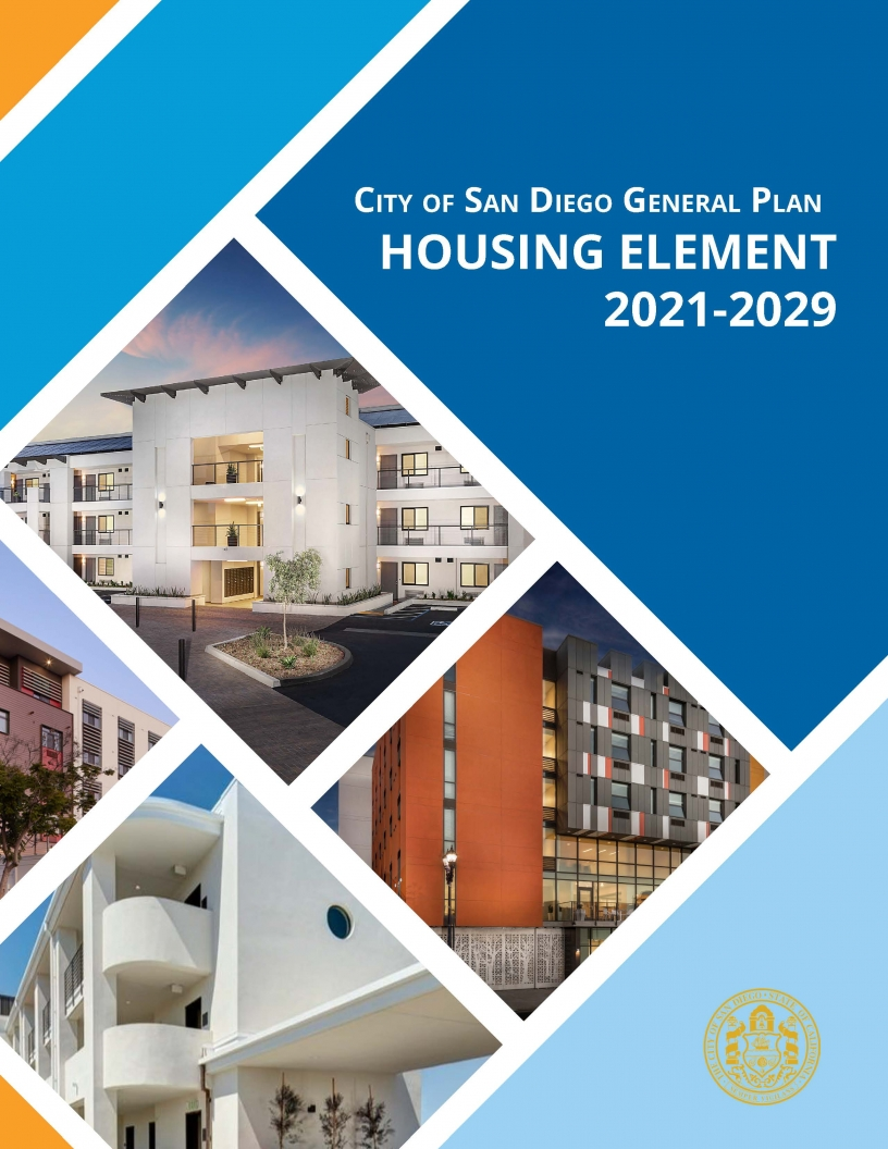 Image of the Cover of the City of San Diego General Plan Housing Element for 2021 to 2029
