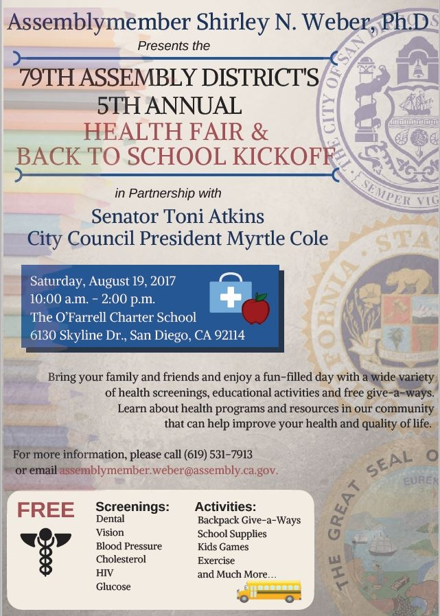 Flyer for Back To School and Health Fair