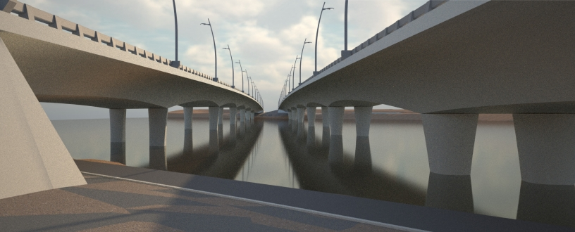A rendering of the two three-lane bridges