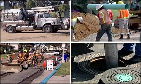 Photo collage of Wastewater workers and equipment