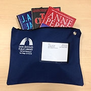 Library-by-Mail blue delivery pouch.