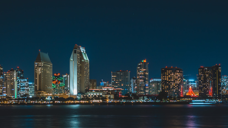 Skyline image of downtown San Diego by the bay at night