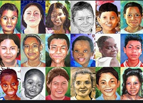 Portraits of students painted by American students.