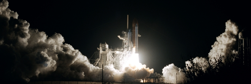 Photo of shuttle blasting off