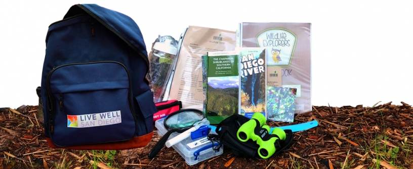 Backpack with various nature tools