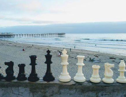 Chess pieces at Pacific Beach Ocean
