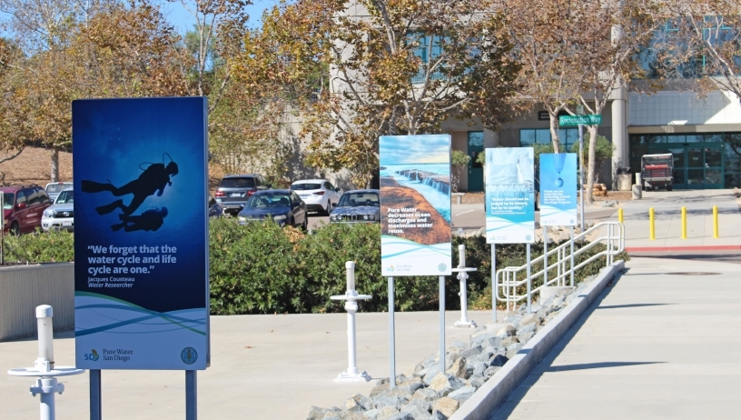 Promotional signs at Pure Water SD facility