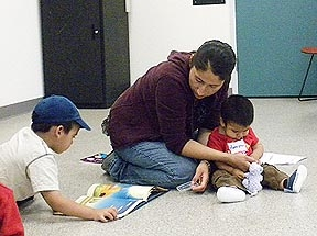 Mariana Gomez with her sons, Felipe and German at City Heights Families for Literacy Program.