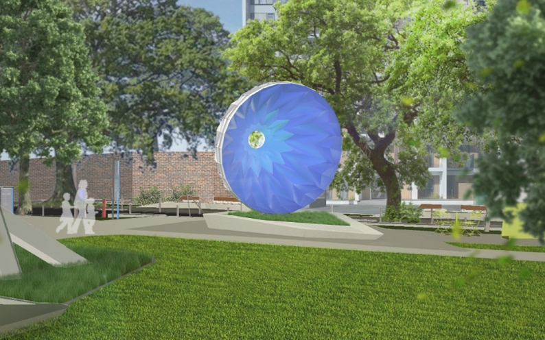 Conceptual rendering of artwork in development for East Village Green