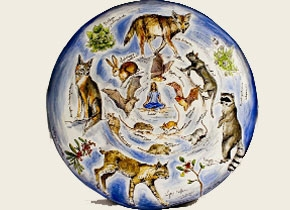 Circular painting of animals by A. Carver