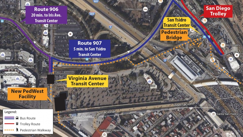 San Ysidro Transit Map (English) - click to view larger map