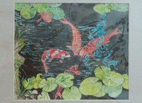 Painting of koi fish and water lily by R. Benjamin