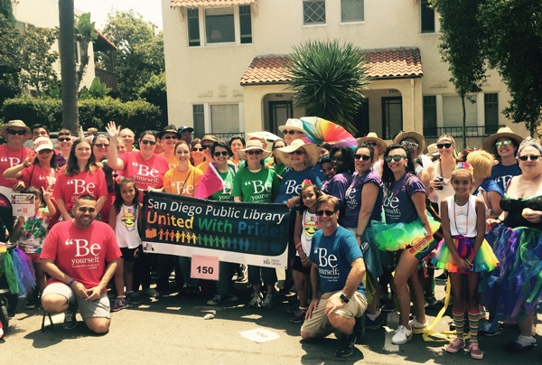 San Diego Public Library staff marching at the 2017 San Diego Pride Parade