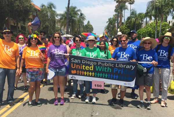 San Diego Public Library staff marching at the 2017 Pride Parade