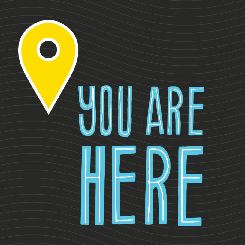 You Are Here exhibit pin