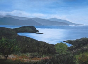 Oil painting of ocean and mountains by Brian J. Reilly