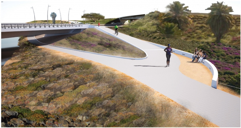 A rendering of the proposed southwest bike path for the West Mission Bay Drive Bridge Project