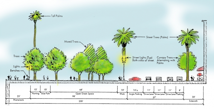 Illustration of city street with trees