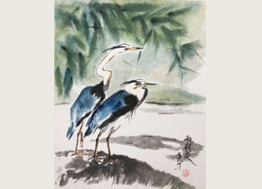 Brush painting of two herons