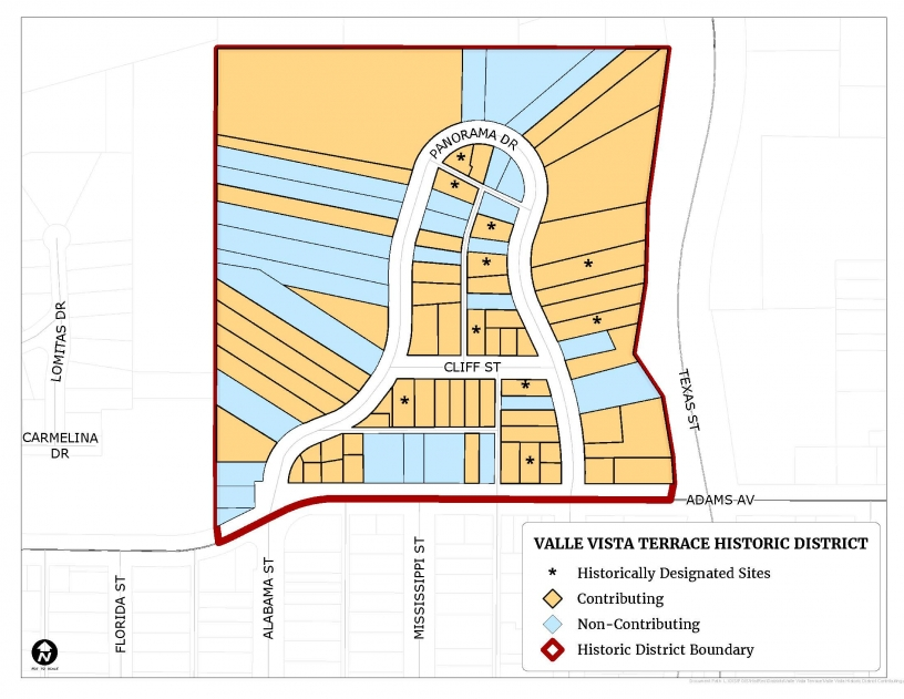 Map illustrating the boundary of the Valle Vista Terrace Historic District and the location of contributing and non-contributing resources.