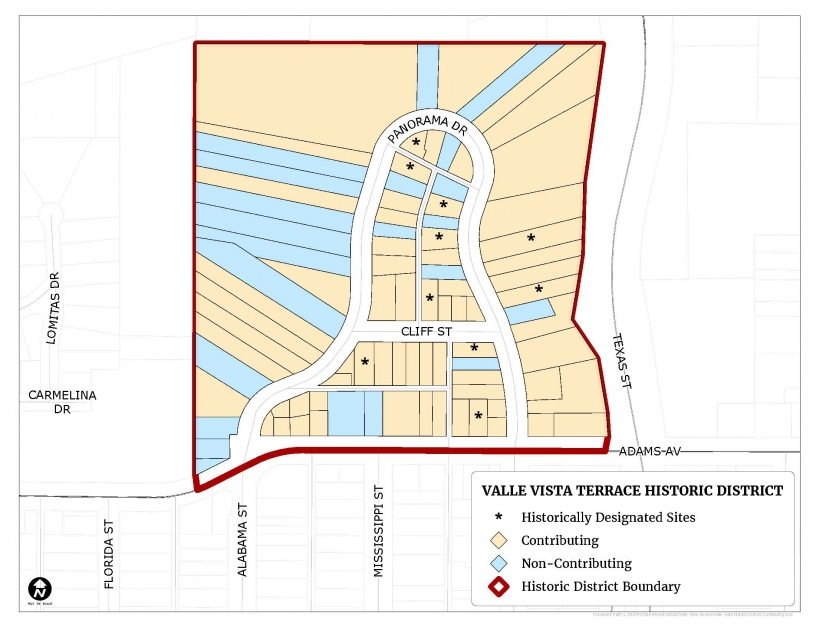 Map of the Valle Vista Terrace Historic District showing location of contributing and non-contributing resources.
