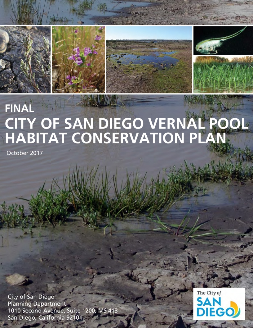 Vernal Pool Habitat Conservation Plan cover