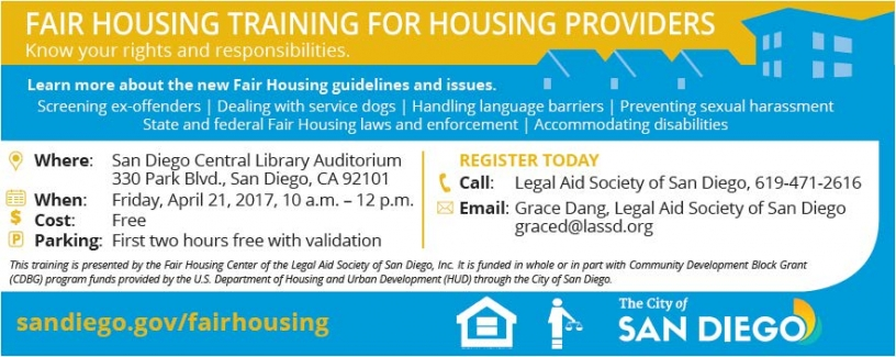 Fair Housing Training for Housing Providers, City of San Diego