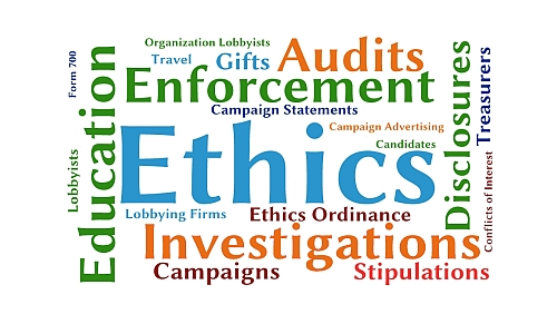 Graphic Collage of Ethics Terms