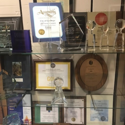 trophies in trophy case