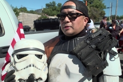 City Employee Volunteers as Storm Trooper