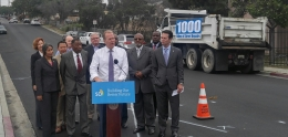 San Diego Mayor Kevin L. Faulconer announces the city has repaired 250 Miles of its goal to fix 1,000 in five years.