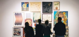 Visitors viewing artworks at the Central Library gallery