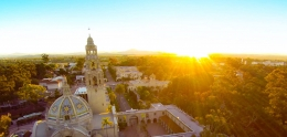 Balboa Park overhead shot at sunset