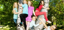 several kids in a tree