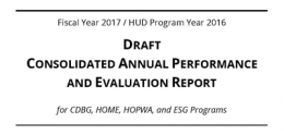 cover page of FY17 CAPER