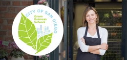 Green Business Network logo and small business shop owner
