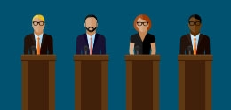 Graphic of Candidates at Podiums
