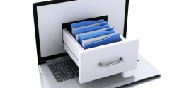 Graphic of Laptop with File Cabinet Drawer Coming out of the Screen