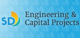 Engineering and Capital Projects logo on a blue background.