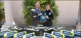 Photo of Councilmember Kersey with Automated External Defibrillators.
